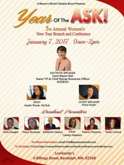 1/7/17 AT 9:00 AM, RANDOLPH, MA 5th Annual Women's New Year Brunch and Conference