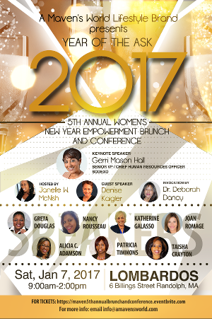 Tickets were available for our 5th Annual Women's Brunch and Conference in Boston, with Keynote Speaker Gerri Mason Hall and more
